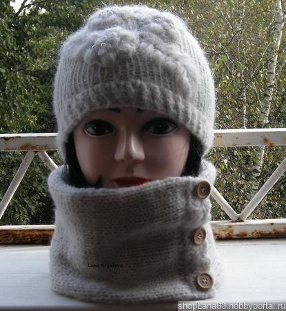 Комплект шапочка и снуд вязаные ручной работы на заказ