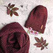 Вязаная шапка тыковка и снуд ручной работы