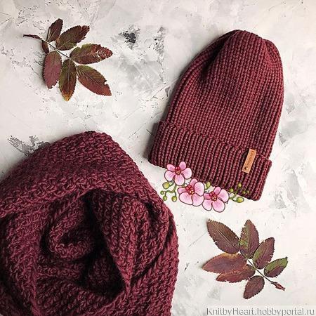 Вязаная шапка тыковка и снуд ручной работы ручной работы на заказ