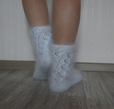 Носочки вязанные тёплые, пуховые. ручной работы на заказ