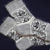 Носки шерсть с пухом вязанные-тёплые