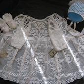 """Крестильное нарядное платье """"Первое торжество"""" вязаное крючком."""