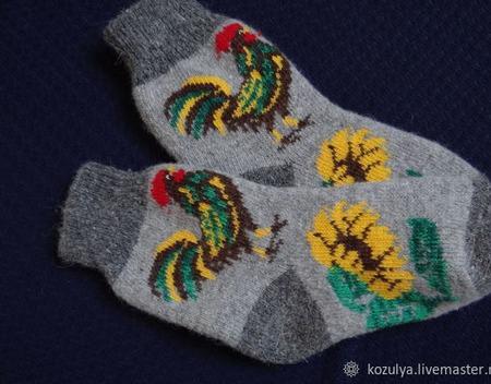 """Носки шерстяные-тёплые- вязанные с петушком """"В подарок""""№2 ручной работы на заказ"""