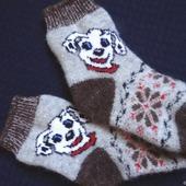 """Детские шерстяные носочки-тёплые вязанные с собачкой """"В подарок"""""""