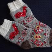 """Носки детские шерстяные-тёплы вязанные с петушком """"В подарок"""""""