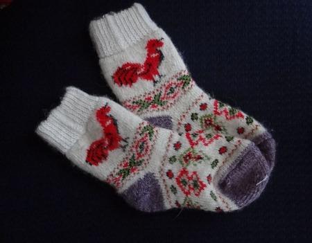 """Носки детские шерстяные-тёплы вязанные с петушком """"В подарок"""" ручной работы на заказ"""