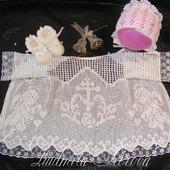 Крестильная рубашка (крестильный набор) вязаная крючком