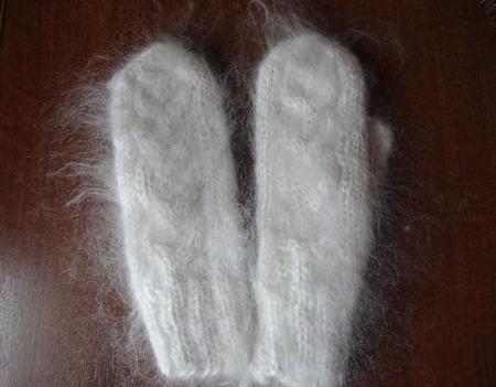 Варежки-рукавицы пуховые вязанные. ручной работы на заказ