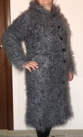 Пуховое вязанное пальто,куртка,пуховик с подкладкой. ручной работы на заказ