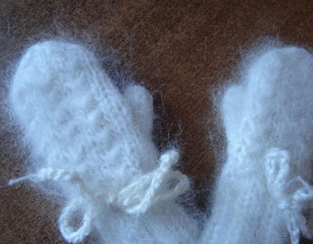 Варежки-рукавички пуховые на завязочках ручной работы на заказ