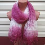 Палантин-шарф цветной вязанный с добавлением козьего пуха