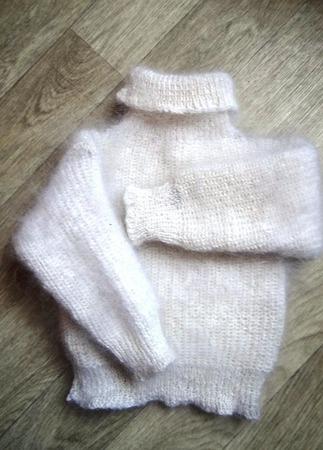 Комплект детский пуховый, тёплый - свитер и брюки ручной работы на заказ