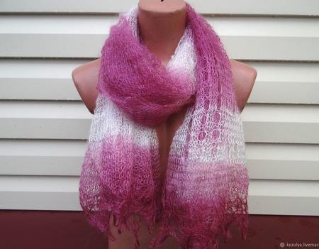 Палантин-шарф цветной вязанный с добавлением козьего пуха ручной работы на заказ