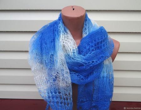 Палантин-шарф вязанный с добавлением козьего пуха Арт..012 ручной работы на заказ