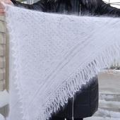 Косынка-шаль пуховая ажурная вязанная №34