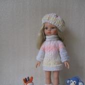 Вязаная туника-платье +беретик и сапожки для Паолочки