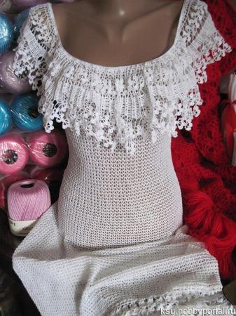 """Платье авторское """"Ивонна"""" крючком ручной работы на заказ"""