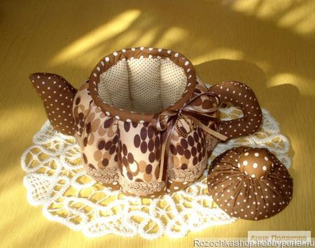 """Текстильный чайник """"Любителям кофе"""" ручной работы на заказ"""