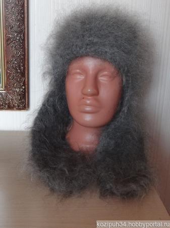 Шапка-ушанка пуховая,тёплая,зимняя мода! ручной работы на заказ