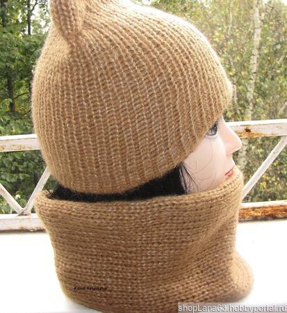 Шапка - кошка вязаная и снуд ручной работы на заказ
