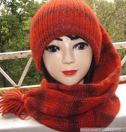 Вязаная шапка- шарф ручной работы на заказ