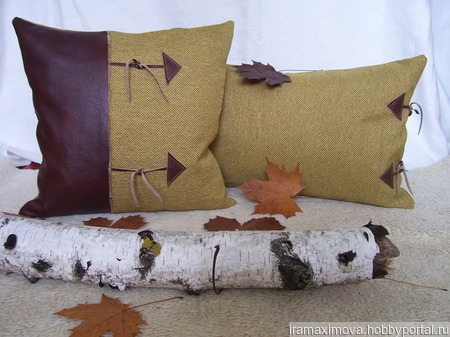 Подушка декоративная (чехол) Осенний блюз ручной работы на заказ