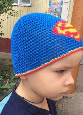 "Шапочка для мальчика ""Супермен"" ручной работы на заказ"