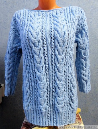 Пуловер с косами ручной работы на заказ