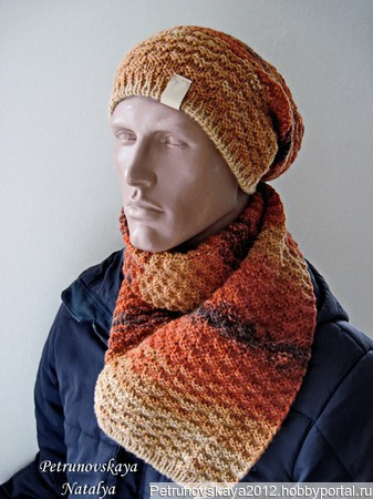 """Шапка-бини и шарф """"Spring"""" (унисекс) ручной работы на заказ"""