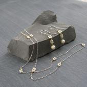 """Комплект """"Quartet pearls"""" из речного жемчуга в серебре"""