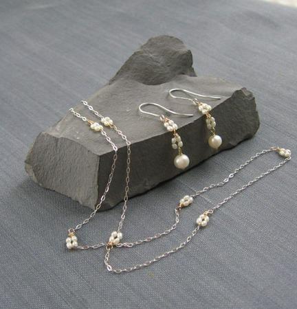 """Комплект """"Quartet pearls"""" из речного жемчуга в серебре ручной работы на заказ"""