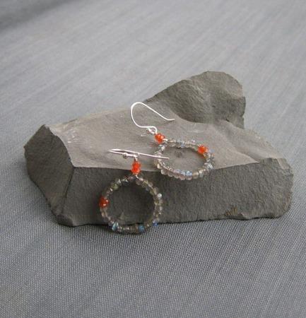 """Серьги """"Intuition"""" с лабрадорами и сердоликом из серебра ручной работы на заказ"""