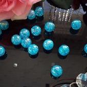 Бусины круглые акриловые голубые с АВ эффектом 100 шт.