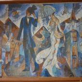 Вышивка крестом картина  Городской роман