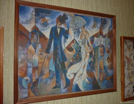 Вышивка крестом картина  Городской роман ручной работы на заказ