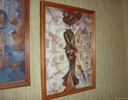 Вышивка крестом картина  Дама с зонтиком ручной работы на заказ