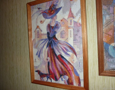 Вышивка крестом картина  Дама с собачкой ручной работы на заказ