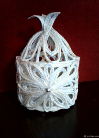 Шкатулка из джута Зимнее серебро ручной работы на заказ