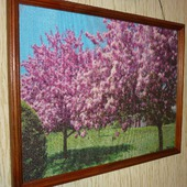 Вышивка крестом картина  Весенний пейзаж