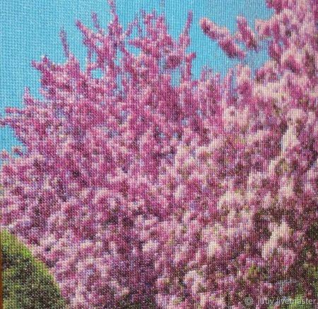 Вышивка крестом картина  Весенний пейзаж ручной работы на заказ