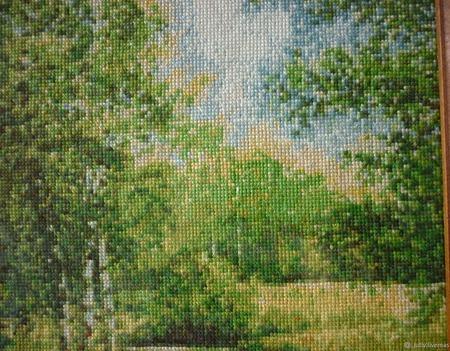 Вышивка крестом картина  Летний пейзаж ручной работы на заказ