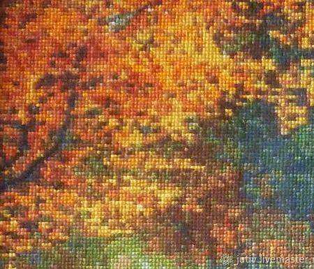 Вышивка крестом картина  Осенний пейзаж ручной работы на заказ