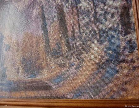 Вышивка крестом картина  Зимний пейзаж ручной работы на заказ