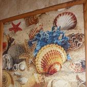 Вышивка крестом картина  Ракушки на песке