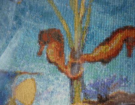 Вышивка крестом картина Морские обитатели ручной работы на заказ