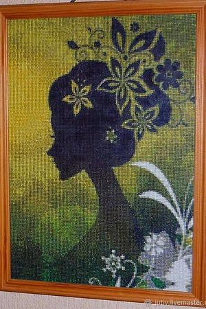 Вышивка крестом картина  Девушка - фантазия ручной работы на заказ