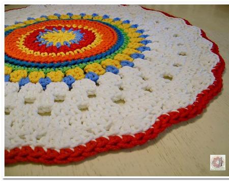 Коврик разноцветный вязаный из шнура Летний ручной работы на заказ