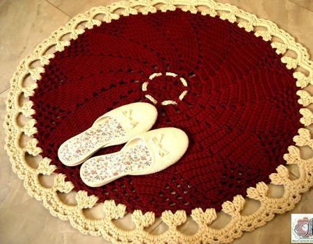 Ковер ручной работы вязаный из шнура Рождественская звезда ручной работы на заказ