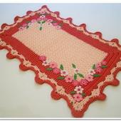 Коврик - половик вязаный из шнура Цветочный