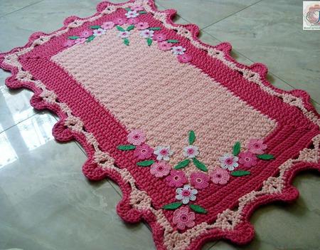 Коврик - половик вязаный из шнура Цветочный ручной работы на заказ